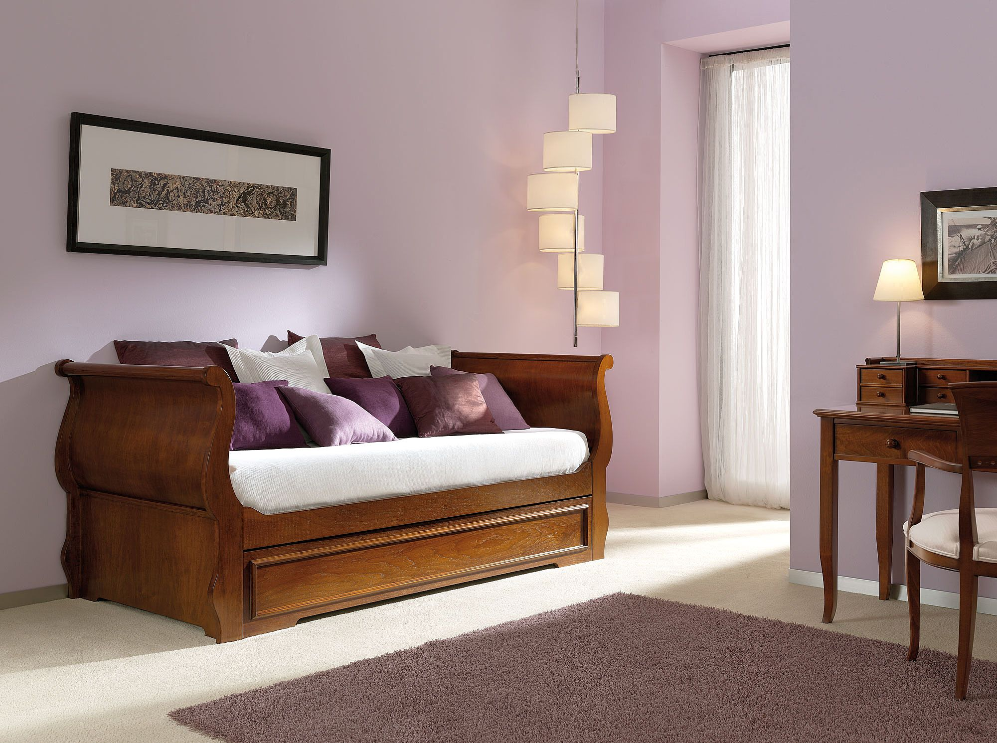 Cama nido bicama en nogal alta decoraci n for Decoracion de interiores clasico elegante