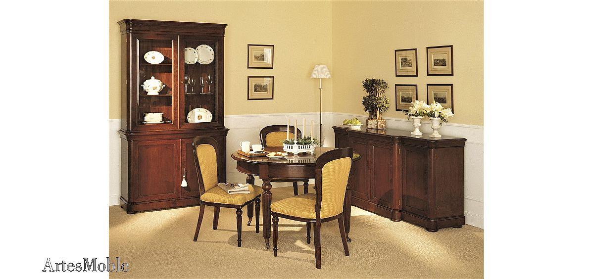 Mesa comedor redonda extensible a manivela en nogal alta - Mesas de salon clasicas ...