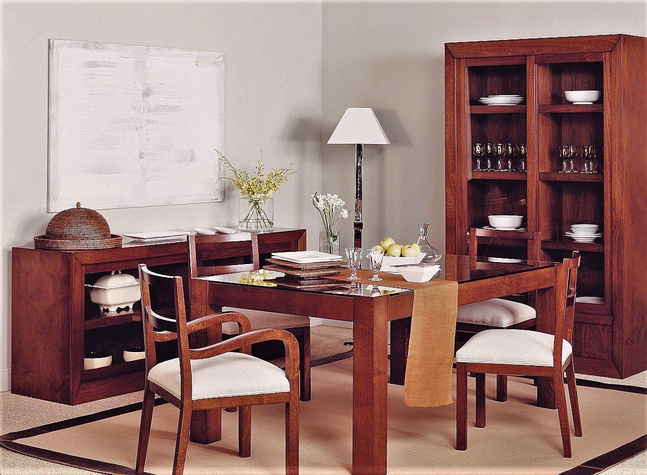 Mesa comedor en nogal extensible y con cajón, alta decoración - T663