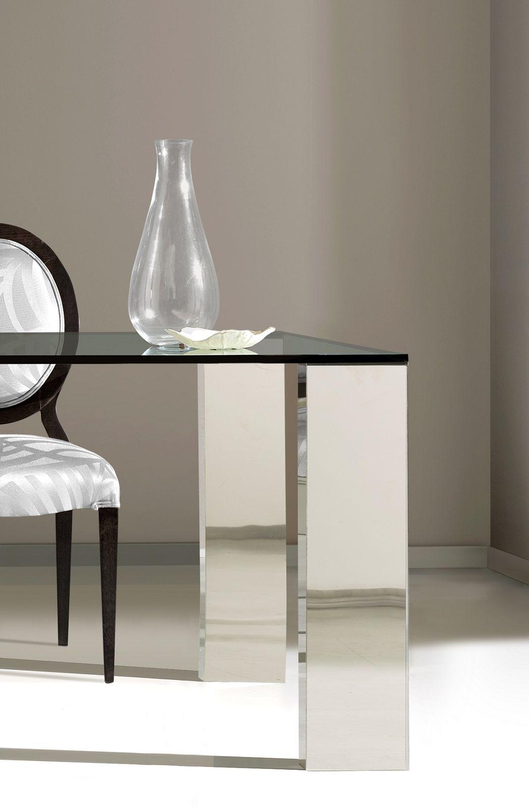 Mesas de comedor de cristal y acero ideas de disenos for Mesas de comedor ofertas