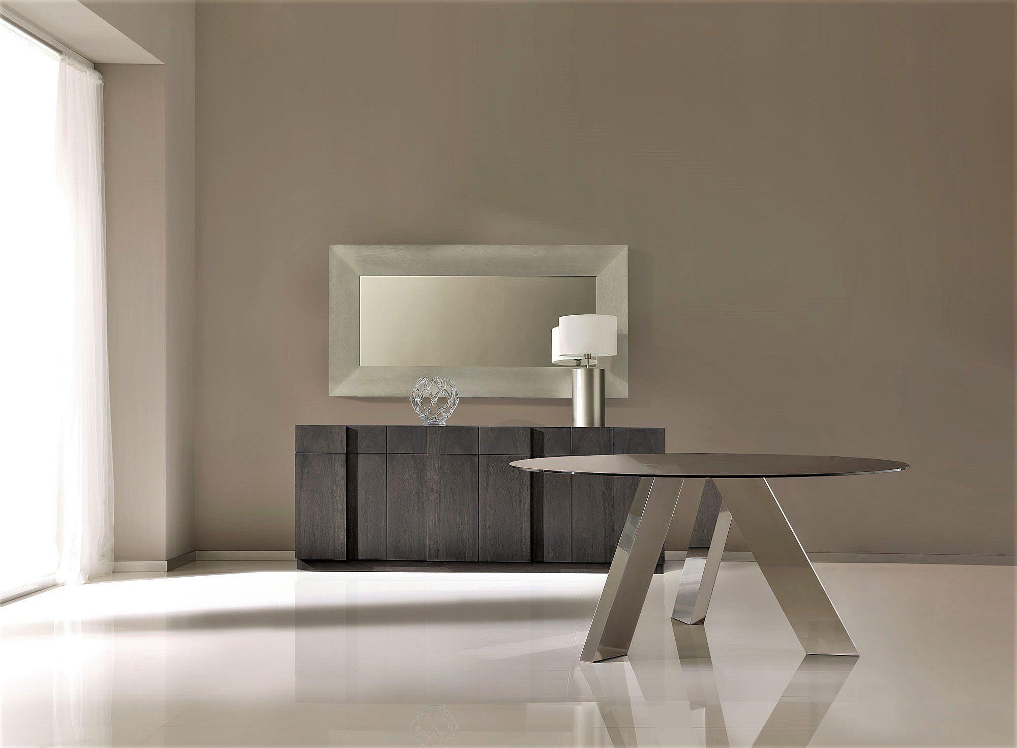 Mesa de comedor redonda con cristal - Mesas de comedor de cristal y acero ...