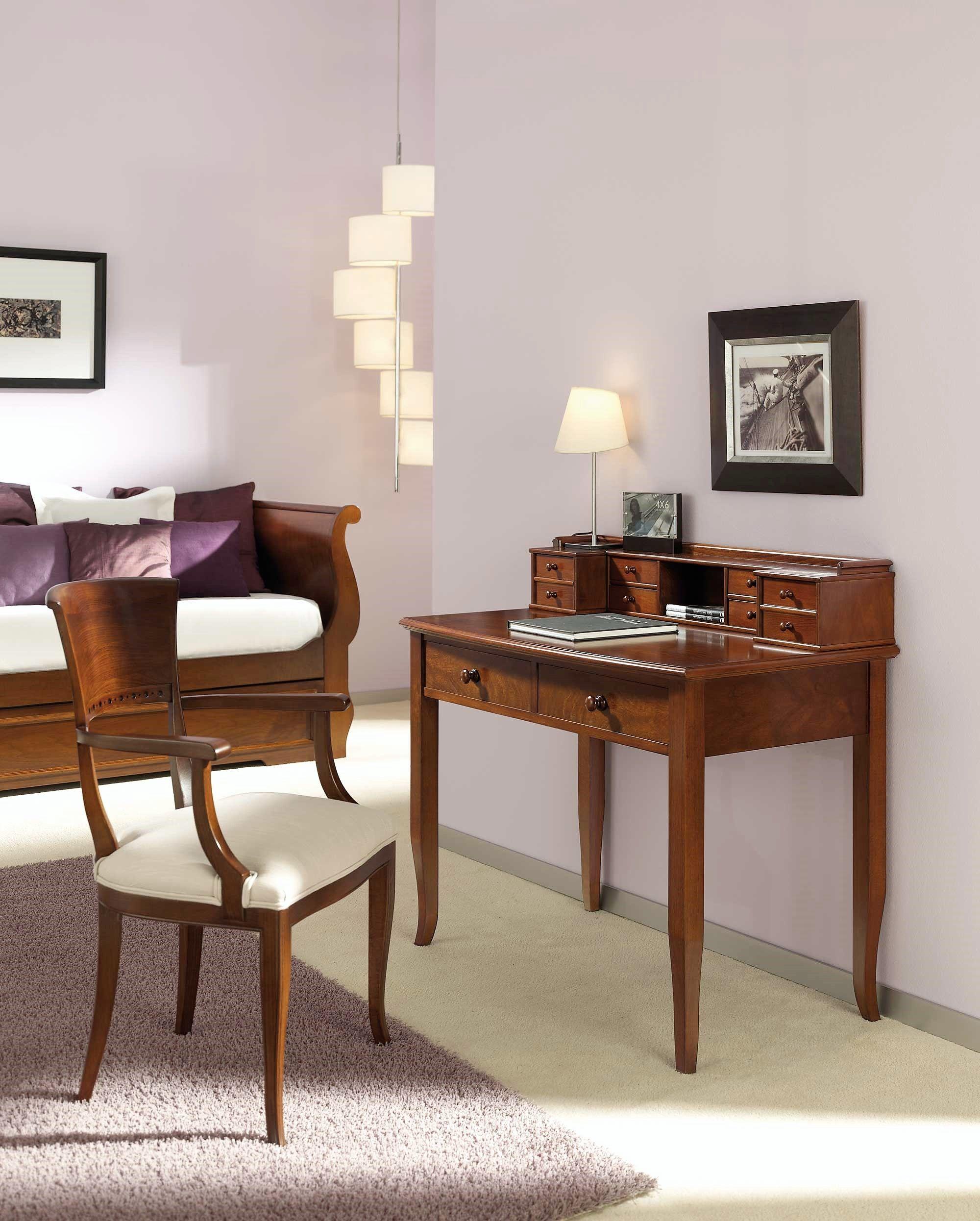 Escritorio cl sico vistoriano con dos cajones y en nogal for Muebles escritorios clasicos