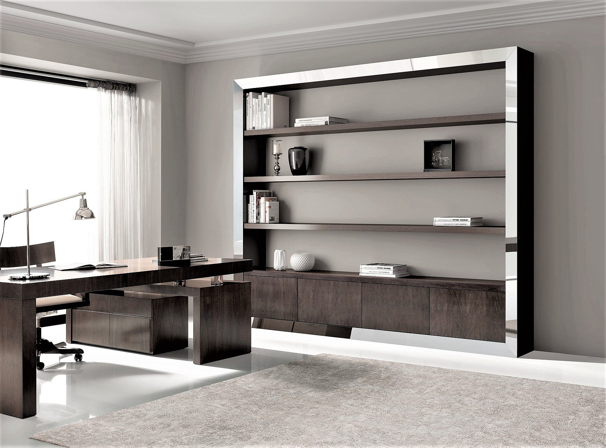 Mesa despacho de diseño en nogal, alta decoración