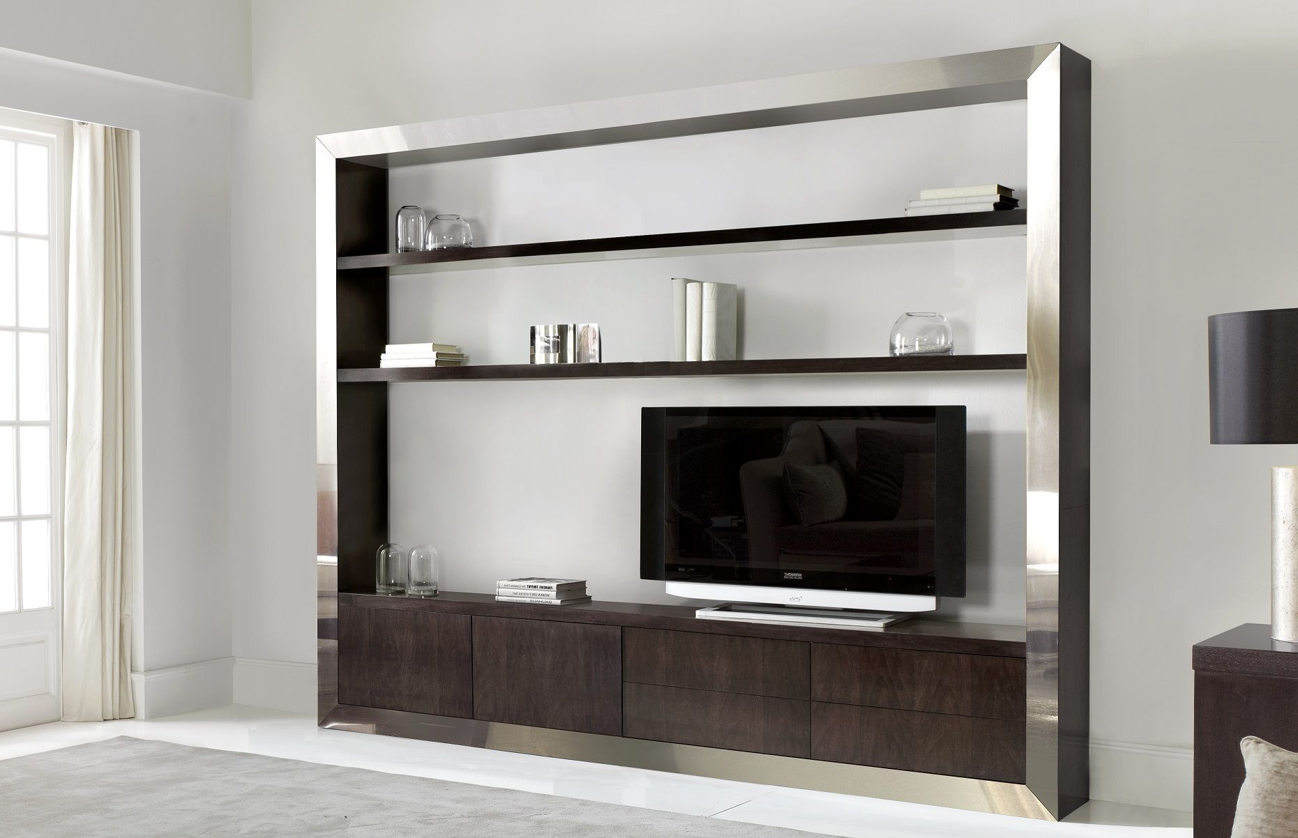 Tv shelving unit with stainless steel for Tv shelving wall units